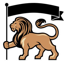 lion mascot hold a flag