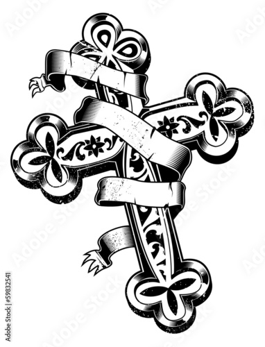 ancient cross with ribbon around