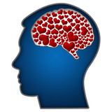 Human Head with Hearts In Brain