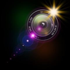 Camera photo lens,lens illustration on abstract background,