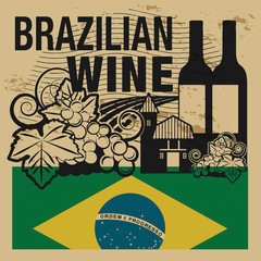 Grunge rubber stamp with words Brazilian Wine