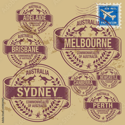 Grunge rubber stamp set with names of Australia cities