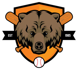 bear head baseball mascot