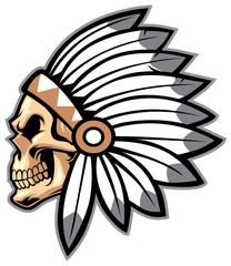 cartoon of indian chief skull