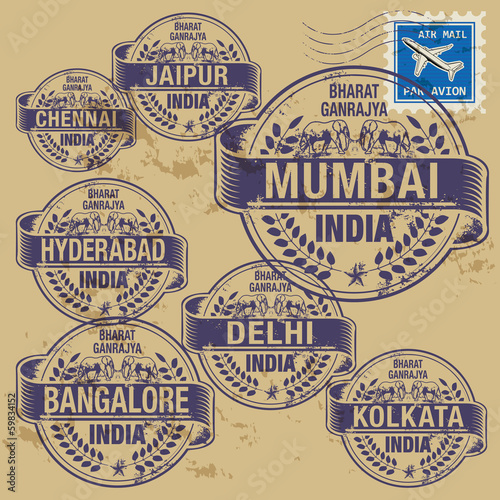 Grunge rubber stamp set with names of India cities