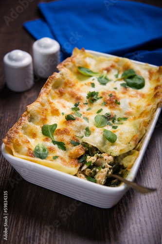 lasagne with salmon and spinach
