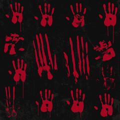 Bloody hand print set 01