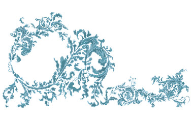 Decorative ornamental floral blue color