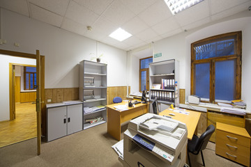 Interior of office room with two working places