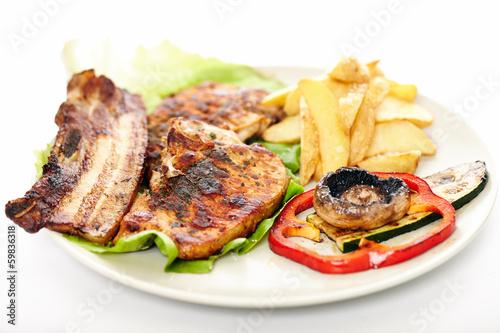 Deurstickers Klaar gerecht Pork steak, potatoes and vegetables
