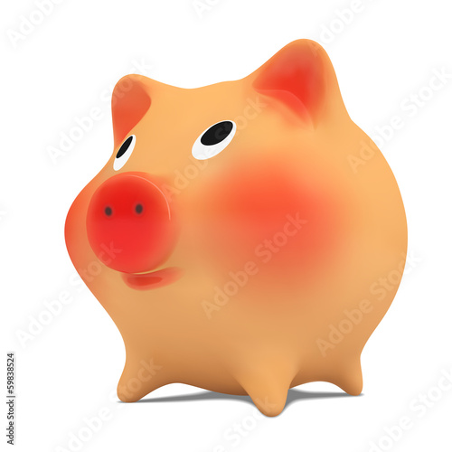 Pink piggy bank.Vector illustration