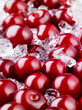 Frozen cherry with ice. Food background