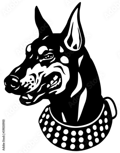 doberman head black white