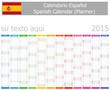 2015 Spanish Planner Calendar with Vertical Months