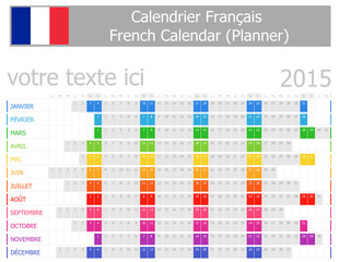 2015 French Planner Calendar with Horizontal Months