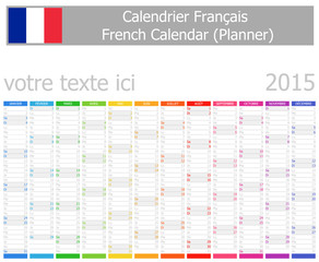 2015 French Planner Calendar with Vertical Months