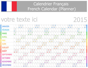 2015 French Planner-2 Calendar with Horizontal Months