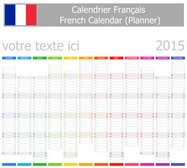 2015 French Planner-2 Calendar with Vertical Months