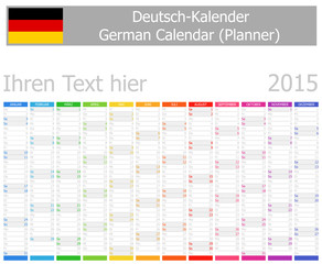 2015 German Planner Calendar with Vertical Months