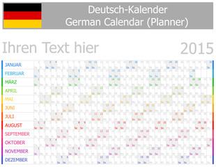 2015 German Planner-2 Calendar with Horizontal Months