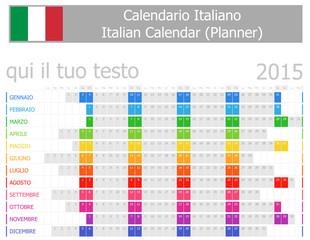 2015 Italian Planner Calendar with Horizontal Months