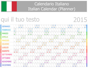 2015 Italian Planner-2 Calendar with Horizontal Months