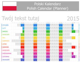 2015 Polish Planner Calendar with Horizontal Months