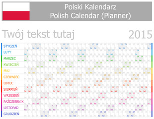 2015 Polish Planner-2 Calendar with Horizontal Months
