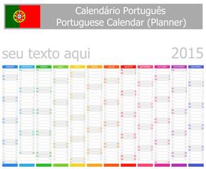 2015 Portuguese Planner Calendar Vertical Months