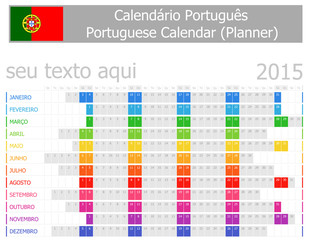 2015 Portuguese Planner Calendar with Horizontal Months