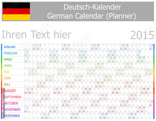 2015 German Planner-2 Calendar with Horizontal Months