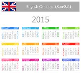 2015 English Type-1 Calendar Sun-Sat