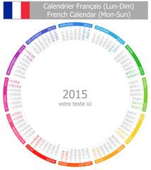 2015 French Circle Calendar Mon-Sun