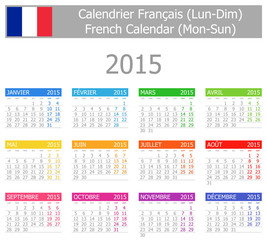 2015 French Type-1 Calendar Mon-Sun