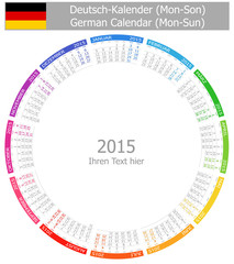 2015 German Circle Calendar Mon-Sun