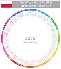 2015 Polish Circle Calendar Mon-Sun