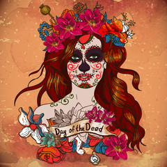 Girl With Sugar Skull, Day of the Dead