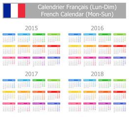 2015-2018 Type-1 French Calendar Mon-Sun