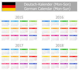 2015-2018 Type-1 German Calendar Mon-Sun