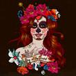 Obrazy na płótnie, fototapety, zdjęcia, fotoobrazy drukowane : Girl With Sugar Skull, Day of the Dead