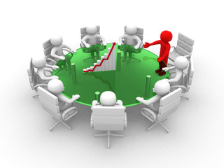 3d white business person in a meeting with grafic. 3d image