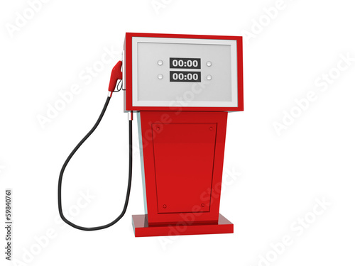 3d render illustration of gas pump over white background