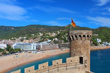 View of Tossa de Mar village from old castle, Costa Brava, Spain
