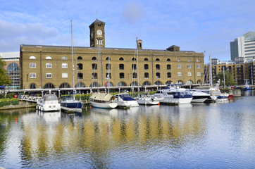 St Katharine dock in London. Yacht  pier near Tower Bridge