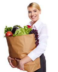 woman shopping for fruits and vegetables