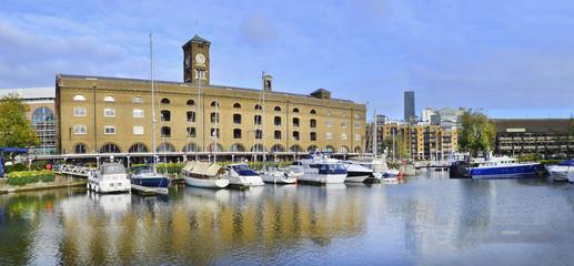 St Katharine dock in London, UK. Modern yacht