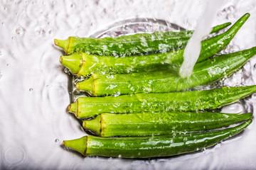 Washing Ladyfinger Vegetables