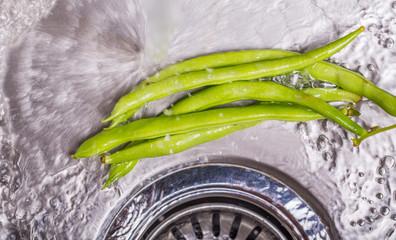 Washing Green Bean Vegetables