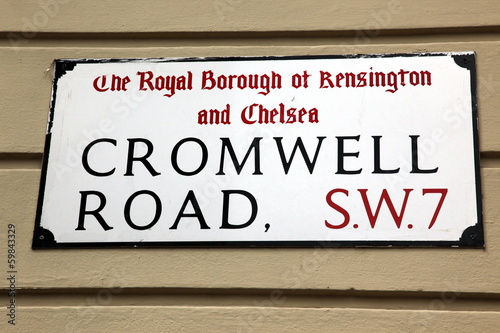London Street Sign, Cromwell Road, Borough of Kensington and Che
