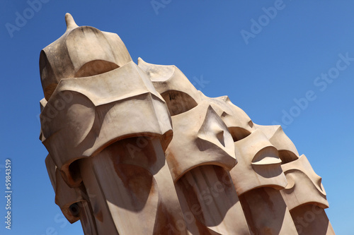 "Part of sculpure on the roof of ""La Pedrera"" (MilA  House) in Ba"
